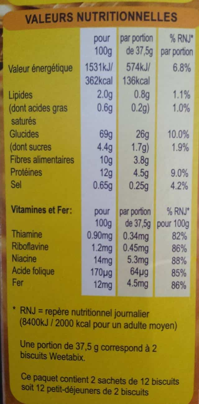 Valeur nutritionnelles Weetabix
